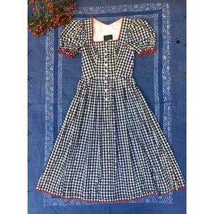 Vintage Gingham Dirndl Austrian Midi Dress